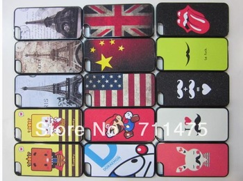 new case/ flag/Eiffel Tower design/ mobilephone shell/Crystal Skin Protector housing for Apple Iphone 5G 5th 300/L free UPS
