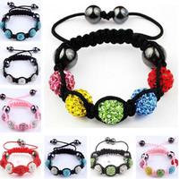 Wholesales 10pcs/lot Fashion Children Jewelry Friendship Crystal Beads Shamballa Charm Bracelets Bangles For Kids Birthday Gift