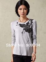Free shipping Brand Suorang  Elegant ink smudges handmade point embroidered long-staple cotton long-sleeved T-shirt, 182013121