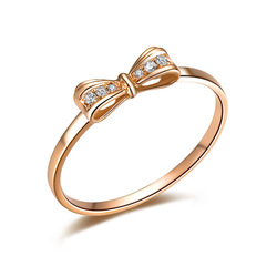 ILSOMMO BRAND CUTE BOW NATURAL REAL CERTIFIED 0.06 CT H / SI DIAMOND RING ROUND CUT JEWELRY SOLID 18K ROSE GOLD FREE SHIPPING(China (Mainland))