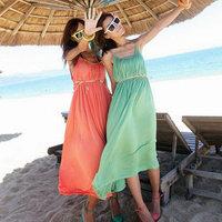 Solid color female summer one-piece dress full dress slim waist spaghetti strap beach dress 5
