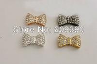 Fashion HOT DIY 40pcs Mixed Plated Side Ways White Crystal Rhinestones Pave Bow Tie Bracelet Connector Beads Jewelry findings