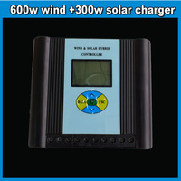 Wind Solar hybrid controller 12/24V LED screen display 600w wind turbine&300w solar panel charger controller