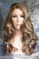 Free Shipping Dark Blonde with Golden highlights Long Layers Womans Nirvana Tarah Wig