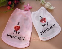 """High Qulity pet dog puppy """"I Love My Mommy"""" t shirt for small dog for girl dog free shipping 2 colors"""