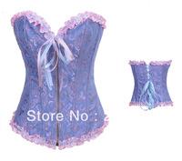 Satin front zip Corset blue ( Bustier+g-string)  High Qualtiy  Women intimates Sexy Lingerie  6017