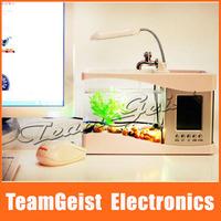 Black / White Mini USB LCD Desktop Lamp Light Fish Tank Aquarium LED Clock with 2 color-changing 6 LEDs