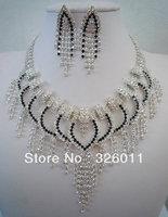 High Quality Free shopping  Gorgeous Wedding Jewelry sets Transparent color Bridal jewelry sets Shiny Rhinestone Bridal sets