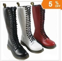 riding Style  Boots, Genuine Leather Tall Boots Shoes for Women/Ladies, Punk Cowhide 20 Eye Lacing Boot, 5 Color