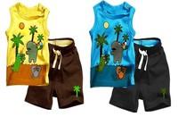 Free Shipping 3sets/lot Baby Boy's Summer Suit,children suits, kids clothing set, t-shirt + pants