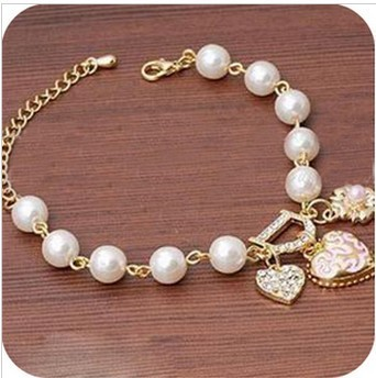New Arrivals Jewelry,Korean style Heart flower letter D pendant Charm Bracelet 2004(China (Mainland))
