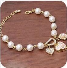 5pcs/lot New Arrivals Jewelry,Korean style Heart flower letter D pendant Charm Bracelet 2004(China (Mainland))