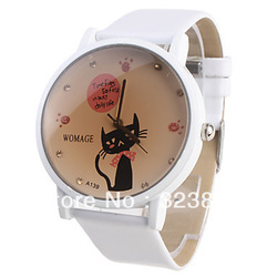 free shipping wholesale womage womens cat pattern girls fashion wrist quartz watc(China (Mainland))