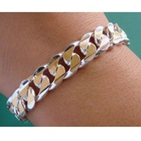 JB2  Gold plated link chain Bracelet, Wholeslae Fashion Jewelry, Free shipping Top quality, 925 Silver Snake Chain Bracelet