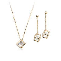Exquisite 18K Gold Plated Jewelry Sets Necklace Earring with Top Quality Austrian Crystals 1662889
