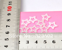 12MM White Flatback Acrylic Hollowed Pearl Pentagram Star for Cell Phone Case DIY Handmade Projects Decoration Accessory 200PCS