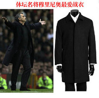2012 classic black trench outerwear autumn and winter male thickening cashmere trench coat