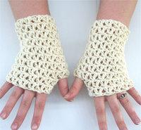 White Wedding Crochet fingless glove, hand jewelry, foot jewelry, Lace heart, Yoga, Bracelet , Dance 2 pair/lot