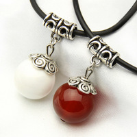 Natural red agate silver necklace chain Women pendant red string bead transfer gift