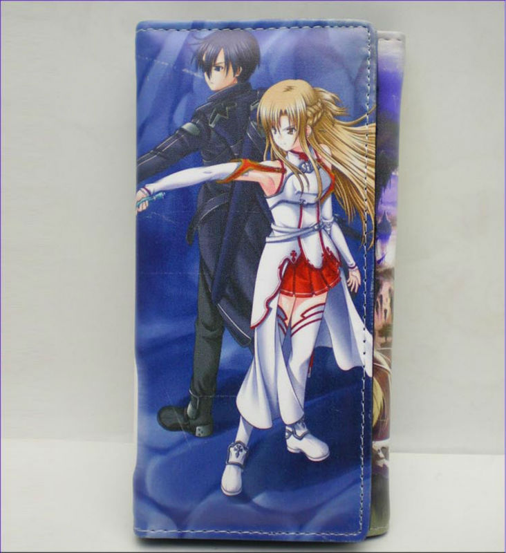 wholesale 100pcs/lot Sword art online Kirito Yuuki Asuna SAO game Purse Wallet Bag PVC leather free shipping by DHL/FEDEX(China (Mainland))
