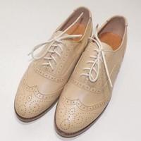 Nude color fashion vintage shoes brockden shoes vintage solid color handmade shoes customize genuine leather shoes customize
