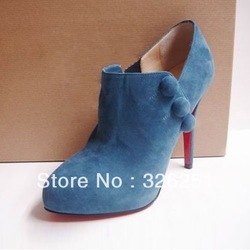 Fashion Design Brand High Heel Boots Women blue Ankle Boots(China (Mainland))
