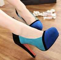 Туфли на высоком каблуке/drop shipping, 2012 platform pumps, thin high heels, flock, wedding shoes, red bottom shoes Woman, SXX02054