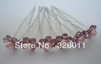 Flower Design Hair Pin Hot selling Rhinestone pearl Hair Pins Wedding Bridal Hair pink color Accessories Jewelry bridal Hairwear
