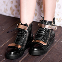 Free shipping! 2013 NEW Gz fashion metal velcro lace-up boots  toe genuine leather casual shoes flat heel boots