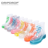 free shipping 2013 Fashion transparent crystal women's colorful flat heel high rainboots martin boots socks