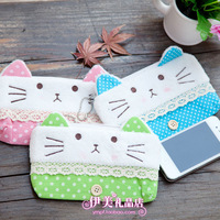 Cartoon cat coin purse women's wallet plush bags coin case 3