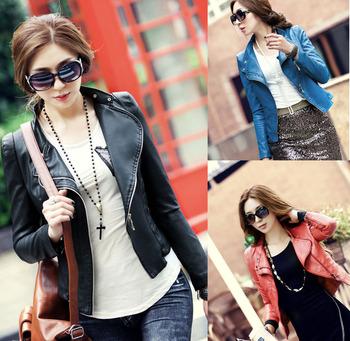 Free shipping Leather jacket women coat 2014 spring motorcycle short design slim PU clothing  women's short jacket