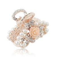 Rhinestone small grasping clip pearl flower the top folder jewelry D024
