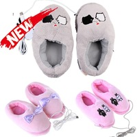 Novelty items Gift Plush USB Foot Warmer Shoes Soft Electric Heating Slipper with Cute Bowknot Rabbits Pink Grey Piggy Gadget