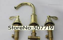 High quality !100% brass Deck mounted 3 hole dual handle golden color faucet mixer .basin taps free shipping!(China (Mainland))