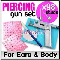 EAR BODY PIERCING GUN PIERCE Mirror Marker Pen TOOLS SET + 98 Pcs FREE STUDS New