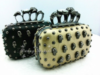 Free Shippping new punk Skull Rivet Clutch purse with Shoulder Chain/Superb quality Knuckle Rings Four Fingers Evening Bag