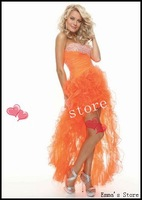 Free Shipping 2014 New High Quality Custom Made Fashion Cheap A-Line Sweetheart Hi-Lo Beaded Organza Orange Long Prom Gown Dress