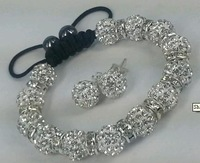 Discount!A limited number of 10mm Crystal Beads Shamballa Bracelet And Eearring. Free Shipping New Style Jewelry Hotsale
