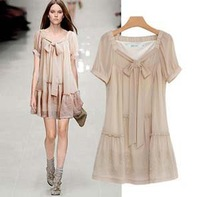 Cute New Fashion 2013 Celebrity Summer Dresses  Embroidery Short Sleeve High Street Chiffon Dress Plus Size