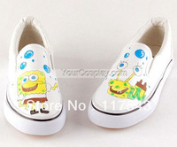 Painted Canvas Shoes Low SpongeBob SquarePants White Hand Painted Canvas Shoes