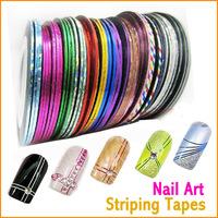 Nail Art Decoration nail art striping tape Sticker Painted Metallic Yarn 18 Rolls Mix Color HT0369