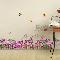 Free shipping  I home  the third generation wall stickers purple fence tijuexian stair x8068