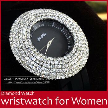 Silicone Strap Bling Diamond Design Luxury Fashion Women Lady Girl Round Dress Quartz Wristwatch Wrist Watch Black FREE SHIPPING