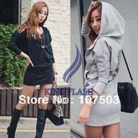 Free shipping Women Lady Wings Printed Behind long Hooded Zipped Hoodie Coat Sweatshirt hoody dress 9239