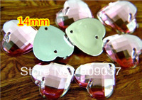 Heart Shape Sew On Acrylic Rhinestones Peach Sewing Buttons Clothing accessory  14mm Pink  500pcs/lot U choose colors