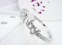 Free shipping Silver-Tone Rhinestone Glitter Character Baby Bangle Bracelets Primitive Valentine Decor GB064