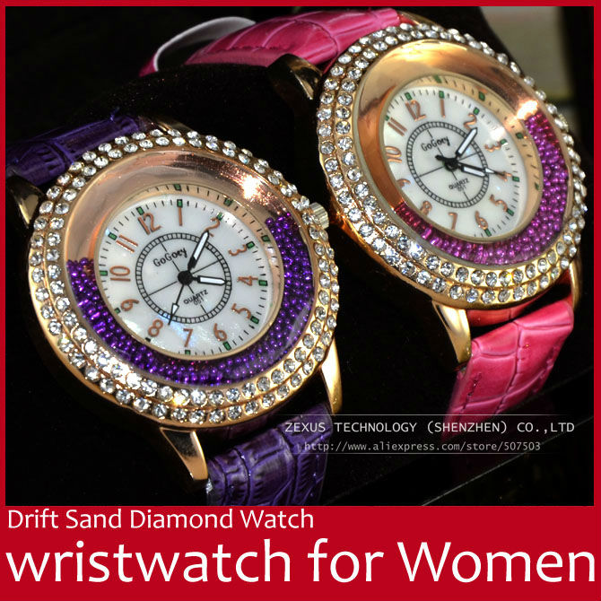 Drift Sand PU Leather Strap Diamond Resistant Stainless Steel Quartz Women Lady Wrist Watch Red/Purple/White/Pink FREE SHIPPING(China (Mainland))