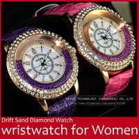 Drift Sand PU Leather Strap Diamond Resistant Stainless Steel Quartz Women Lady Wrist Watch Red/Purple/White/Pink FREE SHIPPING