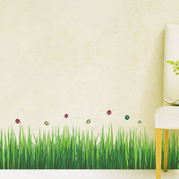 Free shipping  I home Wall stickers green grass tijuexian corner line  AY768 home decor